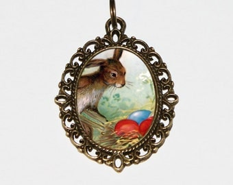 Easter Bunny Necklace, Rabbit Jewelry, Easter Eggs, Animal, Bronze Oval Pendant