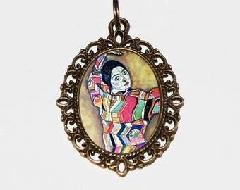 Art Nouveau Necklace, Egon Schiele, Female, Portrait of Friederike Maria Beer, Fine Art Jewelry, Bronze Oval Pendant