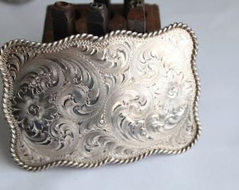 Vintage WH Sterling Silver Front Floral Hand Engraved Western Belt Buckle