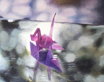 "Framed Art Origami Oil Painting ""Origami on a Mirror"" (Oil, 18""x24"")"
