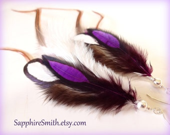 SABLE Feather Earrings, Caramel Brown Violet Purple Long Feather Earrings, Sterling Silver Beads and Ear Wires, party rave wear