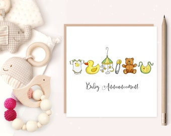 New Baby Birth Announcement - baby - baby birth card - birth announcement - nursery - ideal for new parents