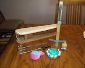 Lot Vintage seamstress aid utensil items, pincushion x 3, scissors x 2, Dressmaker Pin-IT skirt marker & wood sleeve ironing pad board