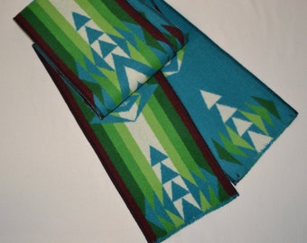 SCARF handmade of blanket weight WOOL warm wool winter scarf turquoise Native American men or women scarf scarves unique