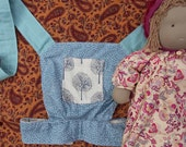 handmade reversible waldorf doll/ baby doll / teddy sling carrier (tilda, linen trees and blues)