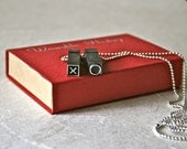 One Week Only Letterpress Type Vintage Pendant XO for Unisex Jewelry