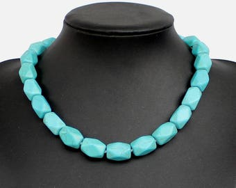 Hand-woven turquoise necklace, 3D section turquoise bead necklace wedding gift sister gift  friends gift Statement necklace choker necklace