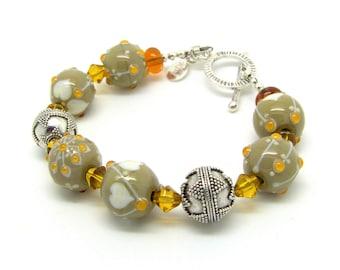Lampwork and sterling silver handmade Bracelet