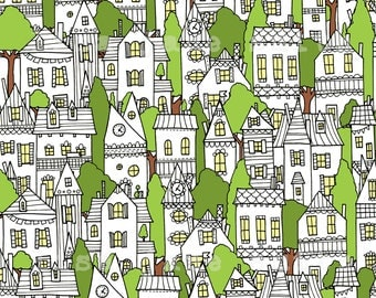 Houses print - village town pattern - 8x10 vertical art print