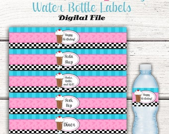 1950's Water Bottle Labels, Fifties Birthday Party, 50's Birthday Party Decor, Instant Download, Sock Hop, Diner, 1950's birthday party PINK