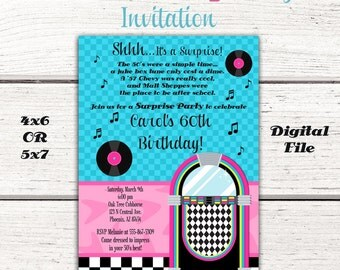 1950's Birthday Party Invitation, Fifties, 50's, sock hop, Diner, Jukebox, Pink & Turquoise, 50's Party Invitation, Sock Hop Invite