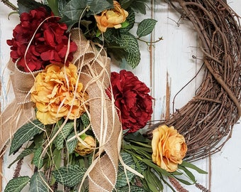 Front Door Wreath, summer wreath,  spring wreath, Outdoor wreath, wreath, wedding wreath, Peony Wreath, Grapevine wreath, Hydrangea Wreath