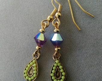 Swarovski Amethyst Crystal and Gold Drop Earrings