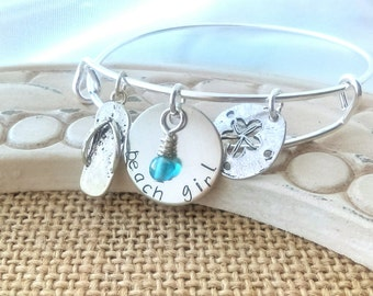 Beach girl bracelet, beach bangle, beach girl, beach girl jewelry, Beach bracelet, Beach, stamped beach, sandal, sand dollar jewelry
