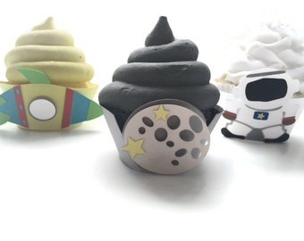 Space Cupcake Wrappers - Set of 12