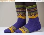ON SALE Very beautiful hand knitted Wool socks. Size - small US W 6.5-7, Eu 37-37.5
