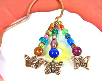 Bookmark - Copper Plated Butterflies & Colorful Mixed Media Beads - Copper Hand Forged/Hammered Page Marker