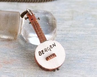 Banjo Necklace - Miniature Guitar Pendant on Chain - Souvenir from Bergen Norway - Fjords