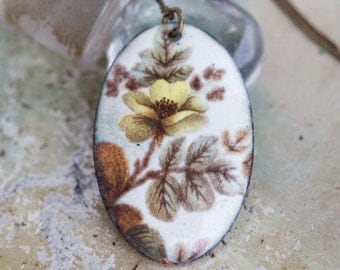 Autumn Flowers Necklace - Enamel on Copper Oval Pendant on Chain