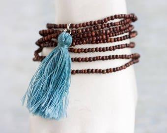 Blue Tassel Necklace on Dark Wooden Beads - Boho Jewelry - Long Necklace