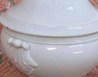 Large Antique French white ceramic soupière /soup tureen hoop handle