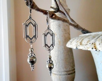 Art Nouveau Pyrite Earrings, Vintage Inspired, Rhinestone, Dangle, Drop, Stainless Steel Lever back, Stained Glass Window