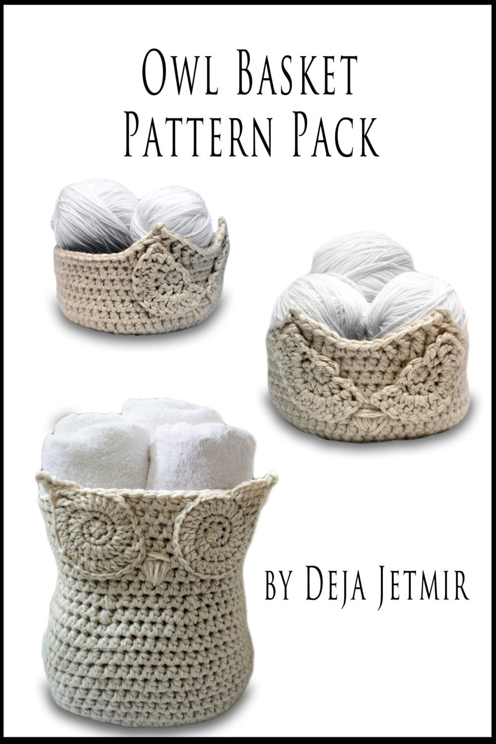 Crochet pattern owl baskets pattern pack crochet pattern from this is a digital file bankloansurffo Images