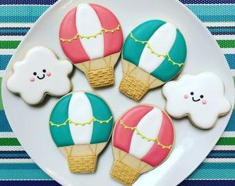 One Dozen Hot Air Balloon and Cloud Sugar Cookies