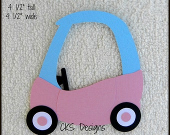 Die Cut Cozy Coupe Toy Car GIRL Scrapbook Page Embellishments for Card Making Scrapbook or Paper Crafts