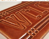 Welcome Tile - Arts & Crafts Mission Craftsman Style - Bungalow Brown