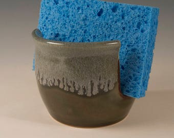 Sponge Holder with flowing blue grey glaze handcrafted by Seiz Pottery