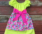 Easter Dress Girls Spring Aqua Hot Pink Bright Green Roses Dresses with sash 6 12 18 24 2T 3T 4T 5/6 7/8 9/10 Sister Sibling Dresses Outfit