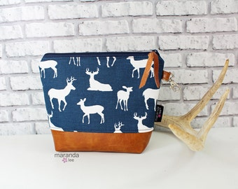 AVA Clutch - 3 Sizes -Navy Deer with PU Leather  READY to SHIp Cosmetic Toiletries bag Travel Make Up Zipper Pouch