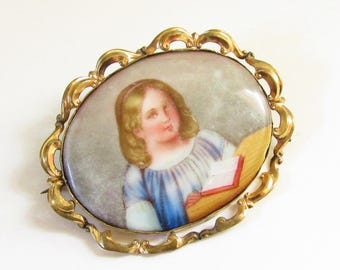 Large Antique Victorian Porcelain Little Girl Portrait Brooch Hand Painted