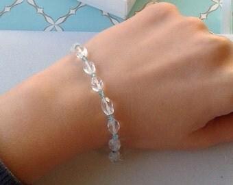 Sparkling Aquamarine Quartz Bracelet with Apatite - Hand Knotted Bracelet - Stacking Gemstone Bracelet - White and Aqua - Sterling Silver