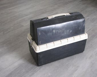 Vintage Black Plastic Insulated Industrial Thermos Lunchbox