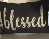 Custom Inspirational Pillow with Glitter Lettering