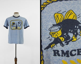 Vintage US Navy Seabees T-shirt Heather Blue Ringer RMCB 19 Mobil Construction Unit - Medium