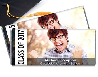 Set of 12 - Graduation Personalized Candy Bar Wrappers with Your Photo - Great graduation party favors