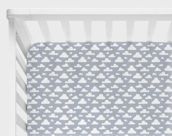 Clouds Baby Bedding, Cloud Crib Sheets, Changing Pad Cover, Neutral Boy or Girl Nursery Bedding, Gray and White, Cloudy Pitter Patter