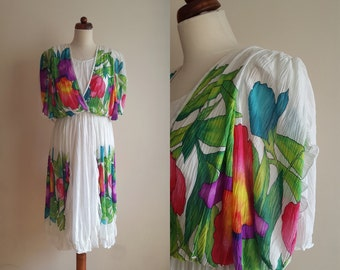 Vintage 1980's Garden Party Dress - Size S
