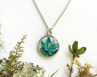 Nature Jewelry, Handmade Original Art Succulent Necklace, Wedding Succulent Necklace, Green Bridesmaid Jewelry, Succulent Pendant