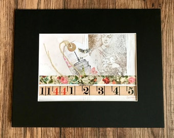 Fly, Collage Art, Mixed Media, Handmade Collage, Original Art,