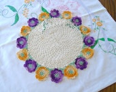 Purple And Yellow Floral Doily / Crochet Rose Doily / Violet / Sunny Yellow / Cotton Doily / Table Doily / Cream Colored / Cottoga Garden