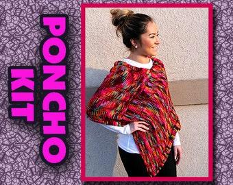 Superwash Merino Hand Dyed knitted Poncho Kit