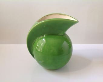 Vintage Green Pitcher, Hand Painted Pottery Pitcher, 1970's Drink Pitcher, Green Ball Pitcher