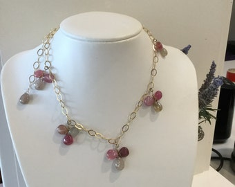 Pink Sapphire and Gold Filled Chain Necklace
