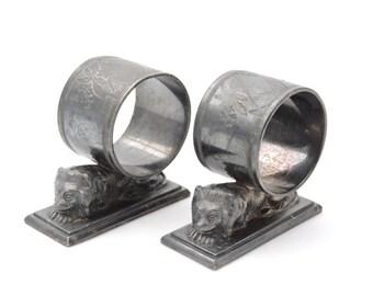 Set of 2 Antique 1870's Meriden B Company Figural Lion Napkin Rings - Meriden Britannia Silverplate #152
