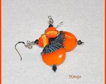 Orange Earrings,Dangle Earrings,Lampwork Earrings,Bright Colorful Earrings - MANGO