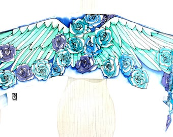 Wing Scarf, Handpainted Scarf, Silk Summer Scarf, Scarf Fashion Boho, Scarf for Wife, ETSY, Mint and Blue Wing with Roses Scarf, 14x72 inch